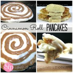 Cinnamon Roll Pancakes with Cream Cheese Frosting!