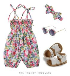 Your baby girl will look just like princess in this sweet summer outfit, complete with a floral straps jumpsuit, matching headband, white sandals and sunglasses Baby Summer Dresses, Girls Summer Outfits, Baby Girl Dresses, Girl Outfits, Baby Girl Fashion, Kids Fashion, Baby Girl Jumpsuit, Cute Baby Clothes, Babies Clothes