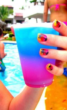 Cute Nails for the Summer. Designs on them all is a bit much tho