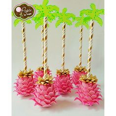 Two-tone Pink Pineapple inspired cake pops for Camila's 1st