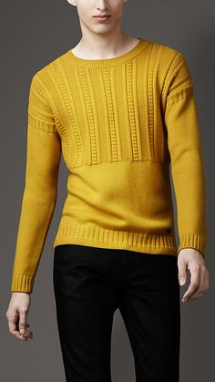 Burberry Guernsey sweater.  Guernsey panel on front, back, arms.  Dropped shoulder. Ribbed collar, cuffs, hem