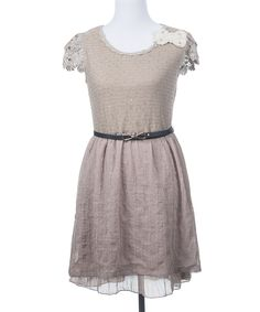 Another great find on #zulily! Deep or Shallow Beige Garden Belted A-Line Dress by Deep or Shallow #zulilyfinds