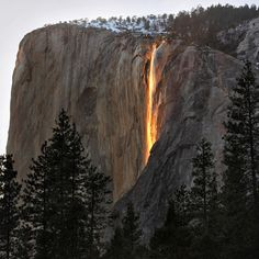 Horsetail Fall - Sun hits Horsetail Fall at just the right angle to illuminate the upper reaches of the waterfall