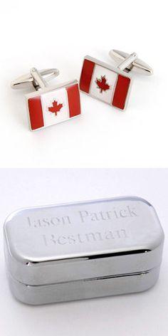 Dashing Canada Flag Cufflinks from Wedding Favors Unlimited