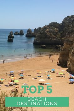 'Top 5 Beach Destinations' against a backdrop of a beach in Lagos, Algarve saved by ourcookery.com and coachingavillage.com