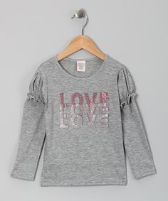 Take a look at this Gray 'Love' Tee - Toddler & Girls by One Love Kids on #zulily today!   #zulily   #fall