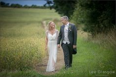 Bride and groom outside at their Highgate House wedding venue.
