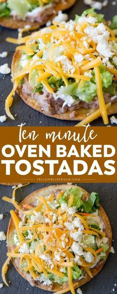 Crunchy 10 Minute Oven Baked Tostadas take minutes to make and are better for you than frying. Easy meal any night of the week and perfect for Cinco de Mayo! (easy meals to make fried rice) Mexican Dishes, Mexican Food Recipes, Vegetarian Recipes, Cooking Recipes, Healthy Recipes, Skillet Recipes, Cooking Tools, Oven Recipes, Chicken Recipes