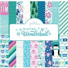 Enjoy the magic of wintertime with Pebbles' newest collection, Winter Wonderland. This cool collection features frosty shades of mint and wintergreen, ice blue, dark pine and snow drop white with soft accents of deep raspberry. Images of sweet snow princesses and majestic carriages are complemented by falling snowflakes, chilly snowmen, piping hot mugs of cocoa and cheerful penguins.