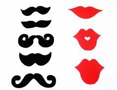 100 Mustache Moustache Lip Cut Outs  Die Cuts  Photo by PartyHQ, $15.00