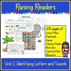 Identifying letters and sounds is the first step for future reading success. 68 pages of Lesson plans, worksheets, activities, games and learning mats.