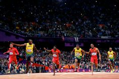 (from Left to Right) Ryan Bailey, Usain Bolt, Justin Gatlin, Yohan Blake, Tyson Gay and Asafa Powell compete in the 100m Finals