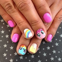 My Little Pony nail art - cute but I'd just do the rainbow with the other nails a different color. The pony faces probably wouldn't turn out.