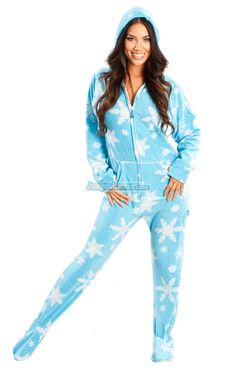 0fbb4e09a3 Frosty Flakes - Hooded Footed Pajamas - Pajamas Footie PJs Onesies One  Piece Adult Pajamas - JumpinJammerz.com