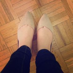 JustFab nude flats! So cute! Brand new and in the box, they just don't fit me right! Pointy toe, nude flats. Size 7. Perfect for business professional or a night on the town  JustFab Shoes Flats & Loafers