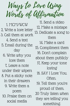 Twenty tips on how to show love to your spouse when their love language is words of affirmation.
