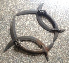 Chinese bronze swords weapon moon knife pair Dragon head powerful old