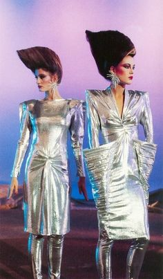 Models wearing Thierry Mugler, photographed by Peter Knapp, 1979....on the cusp of new wave 80's....