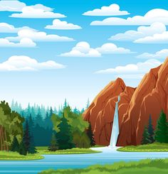 Find Summer Green Landscape Beautiful Waterfall Forest stock images in HD and millions of other royalty-free stock photos, illustrations and vectors in the Shutterstock collection. Thousands of new, high-quality pictures added every day. Summer Landscape, Green Landscape, Scenery Pictures, Cool Pictures, Drawing Lessons For Kids, School Murals, Cloud Vector, Forest Background, Landscape Concept