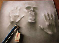Segundo Jerameel, a parte mais difícil de fazer este tipo de arte é imitar sombra, espalhando-a uniformemente sobre a superfície do papel, de modo a criar o efeito de iluminação adequada.