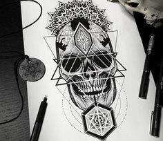 Skull drawing art tattoo by Otheser Tattoo