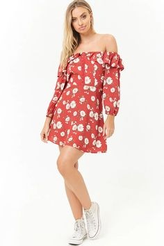 Floral Hook-and-Eye Front Off-the-Shoulder Mini Dress Off Shoulder Blouse, Off The Shoulder, Shop Forever, Forever 21 Dresses, Latest Trends, Floral Tops, Best Deals, My Style, Tees