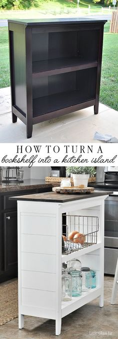 Turn an old bookcase into a kitchen island! Find the tutorial here… SUPER CLEVER! Turn an old bookcase into a kitchen island! Find the tutorial here: www. Refurbished Furniture, Repurposed Furniture, Furniture Makeover, Antique Furniture, Farmhouse Furniture, Rustic Furniture, Refurbished Bookshelf, Painted Furniture, Small Kitchen Furniture