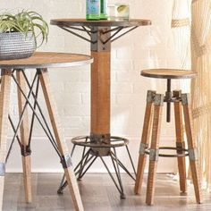 Our backless Farmhouse Bar Stool is both stylish and functional and will serve your needs well. For more bar stools visit Antique Farmhouse today! Outdoor Bar Height Table, Small Bar Table, Bar Table Diy, Round Bar Table, Circle Table, Round Stool, Bar Tables, High Top Tables, Standing Table