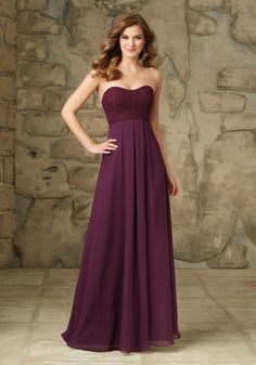 STYLE NUMBER: 107  Dreamy Lace Over Chiffon Morilee Bridesmaid Dress -- Zipper Back. Shown in Eggplant.