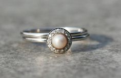 Halo engagement ring pearl engagement ring white pearl by ARPELC