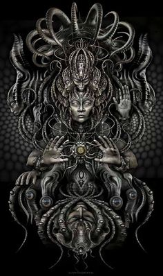 """Tapestry """"Warlords of Atlantis"""" full version by Luminokaya visionary psychedelic limited edition art Psychedelic Art, Dark Fantasy Art, Dark Art, Art Sombre, Backpiece Tattoo, Art Visionnaire, Giger Art, Psy Art, Visionary Art"""