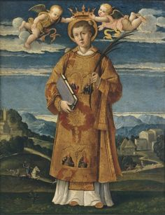 TITLE: Saint Stephen.   AUTHOR: Gerolamo da Santacroce (Gerolamo Galizzi).   DATE: 1530-1540.   OBJECT TYPE AND MATERIAL: Oil on panel.   DIMENSIONS: cm 40 x 35 | Pinacoteca di Brera