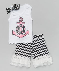 This Pink Anchor Tank & Black Ruffle Shorts - Infant, Toddler & Girls by Ruby and Rosie is perfect! #zulilyfinds