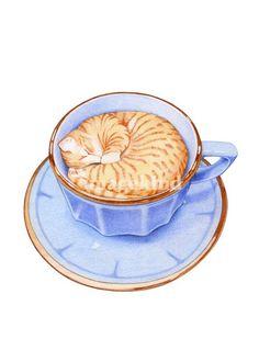 cat in coffee