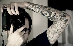 black and white flower tattoo sleeve