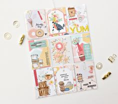 Sprinkle Joy Pocket Page, by Kylie Kingham using the Sprinkles collection from www.cocoadaisy.com #cocoadaisy #kitclub #scrapbooking #DITL #pocketpage #projectlife #pocketletter #planner #paperclips #wood #veneer #shaker #card #flair  #tags #donut