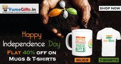 Independence Day Special Offer,  Flat 40% off on Customized Mugs & T-shirts