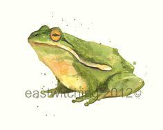 FROG Watercolor Painting, frog, froggy stuff, frog art, green,. $40.00, via Etsy.