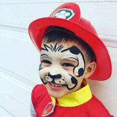 Marshall from Paw Patrol face painting Face Painting For Boys, Face Painting Designs, Body Painting, Paw Patrol Marshall, Marshall Paw Patrol Costume, Paw Patrol Party, Paw Patrol Birthday, Paw Patrol Face Paint, Dog Face Paints