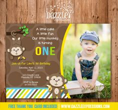 Printable Mod Monkey Birthday Photo Invitation   FREE thank you card included   Modern Monkey   Banana   Boy First Birthday Party Ideas   DIY   Digital File   Matching Party Package Available! Banner   Cupcake Toppers   Favor Tag   Food and Drink Labels   Signs    Candy Bar Wrapper   www.dazzleexpressions.com