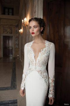 Lace long sleeve wedding dress - lace, deep v neck #2014 Valentines day wedding #Summer wedding ideas www.dreamyweddingideas.com