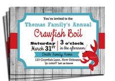 Crawfish Boil Invitation Printable - Birthday, Engagement, Family Party or Just for Crawfish on Etsy, $18.00