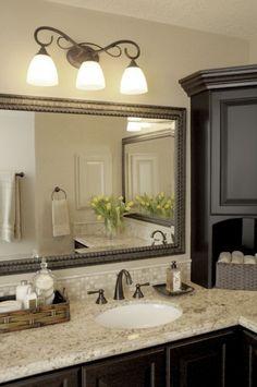 Master Bathroom- granite, backsplash and mirror Bad Inspiration, Bathroom Inspiration, Diy Bathroom, Bathroom Ideas, Bathroom Cabinets, Bathroom Vanities, Bathroom Organization, Small Bathroom, Bath Ideas