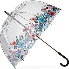 FULTON Birdcage umbrella ($28) ❤ liked on Polyvore featuring accessories, umbrellas, umbrella, misc, blue, decor, wild flowers, clear umbrella, fulton and butterfly umbrella