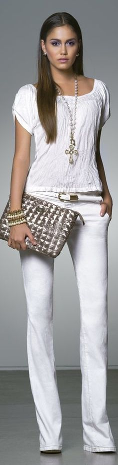 All white with metallic accents - love the bag.