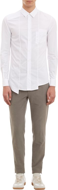 Assymetrical Shirts: Hot and edgy new trend in Street Wear for the Young Urban Male. More Fashion Trends @ rickysturn/mens-casual Plain White Shirt, White Shirts, Kids Shirts, Cool Shirts, Men Shirts, Devil Wears Prada, Formal Shirts, Casual Shirts, Stylish Men