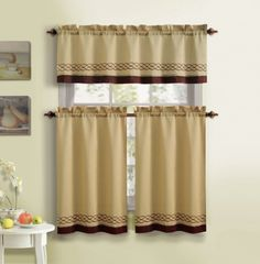 3 Piece Kitchen Curtain Set : 1 Valance, 2 Tiers, Solid Colors, Rod Pocket Design (Gold and Cinnamon)