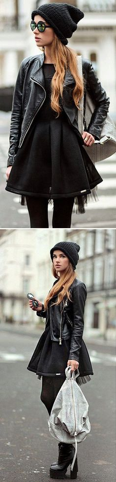 Moto Jacket + Black Dress, love the chunky high heel boots too