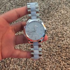 Michael Kors Slim Runway Pave Watch Brand new with tags! Beautiful pale blue and silver watch. No stones missing, battery works. Was never resized Michael Kors Accessories Watches