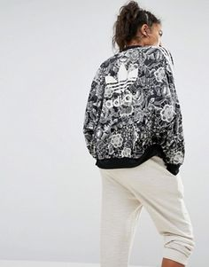 0d47d1c5e adidas Originals Farm Floral Placement Print Cape Sleeve Bomber Jacket  ( 89) ❤ liked on
